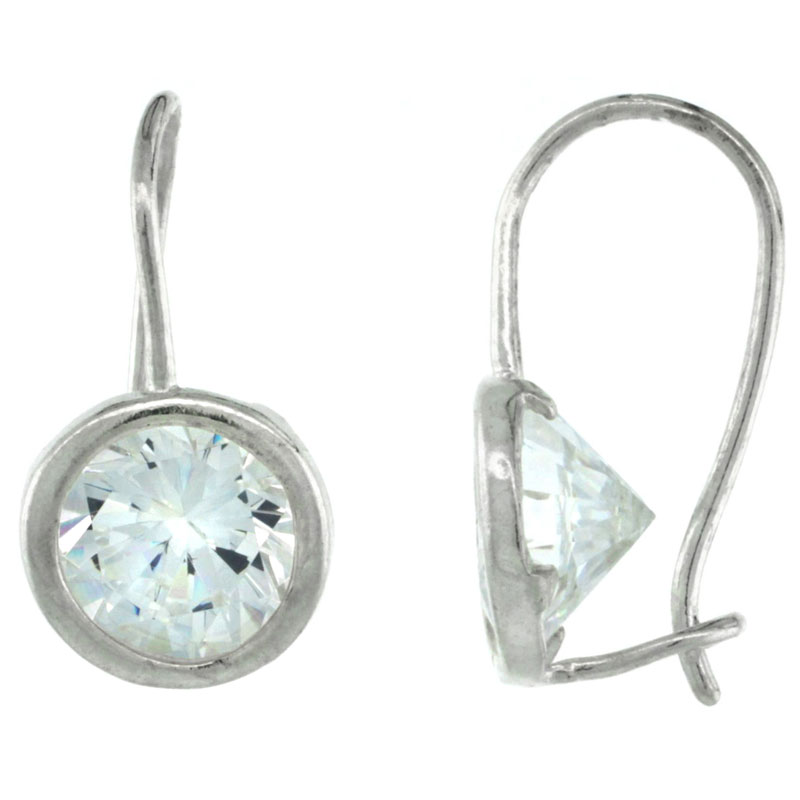 Sterling Silver 9mm Round CZ Hook Earrings 7/8 in. (22 mm) tall