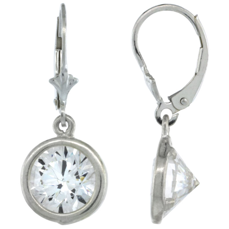 Sterling Silver 9mm Round CZ Lever Back Earrings 1 1/8 in. (29 mm) tall