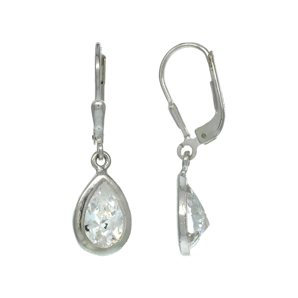 Sterling Silver 9x6mm Pear Shape CZ Teardrop Lever Back Earrings 1 1/8 in. (29 mm) tall