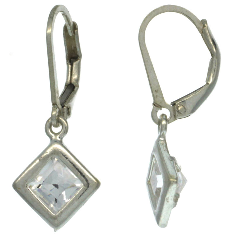 Sterling Silver 5mm Square CZ Lever Back Earrings 1 1/16 in. (27 mm) tall