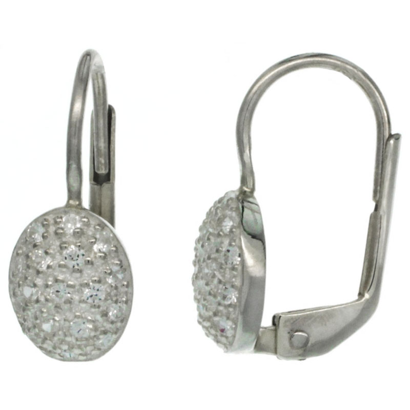 Sterling Silver Oval Shape CZ Lever Back Earrings 11/16 in. (18 mm) tall
