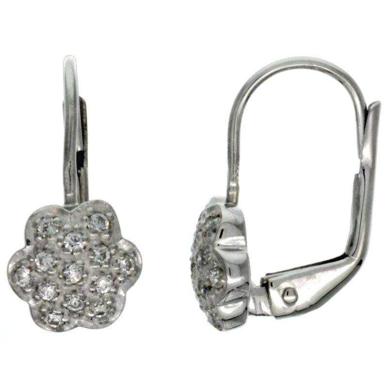 Sterling Silver Flower CZ Lever Back Earrings 5/8 in. (16 mm) tall