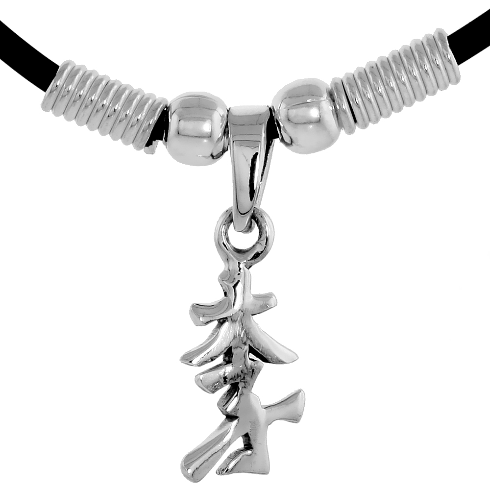 "Sterling Silver Chinese Character Pendant for ""LEE"", 11/16"" (18 mm) tall, w/ 18"" Rubber Cord Necklace"