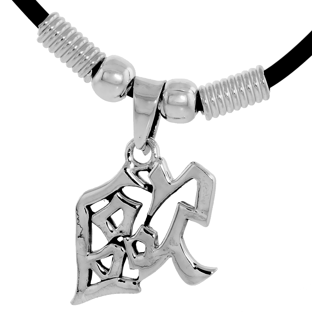 "Sterling Silver Chinese Character Pendant for ""AUR"", 3/4"" (19 mm) tall, w/ 18"" Rubber Cord Necklace"