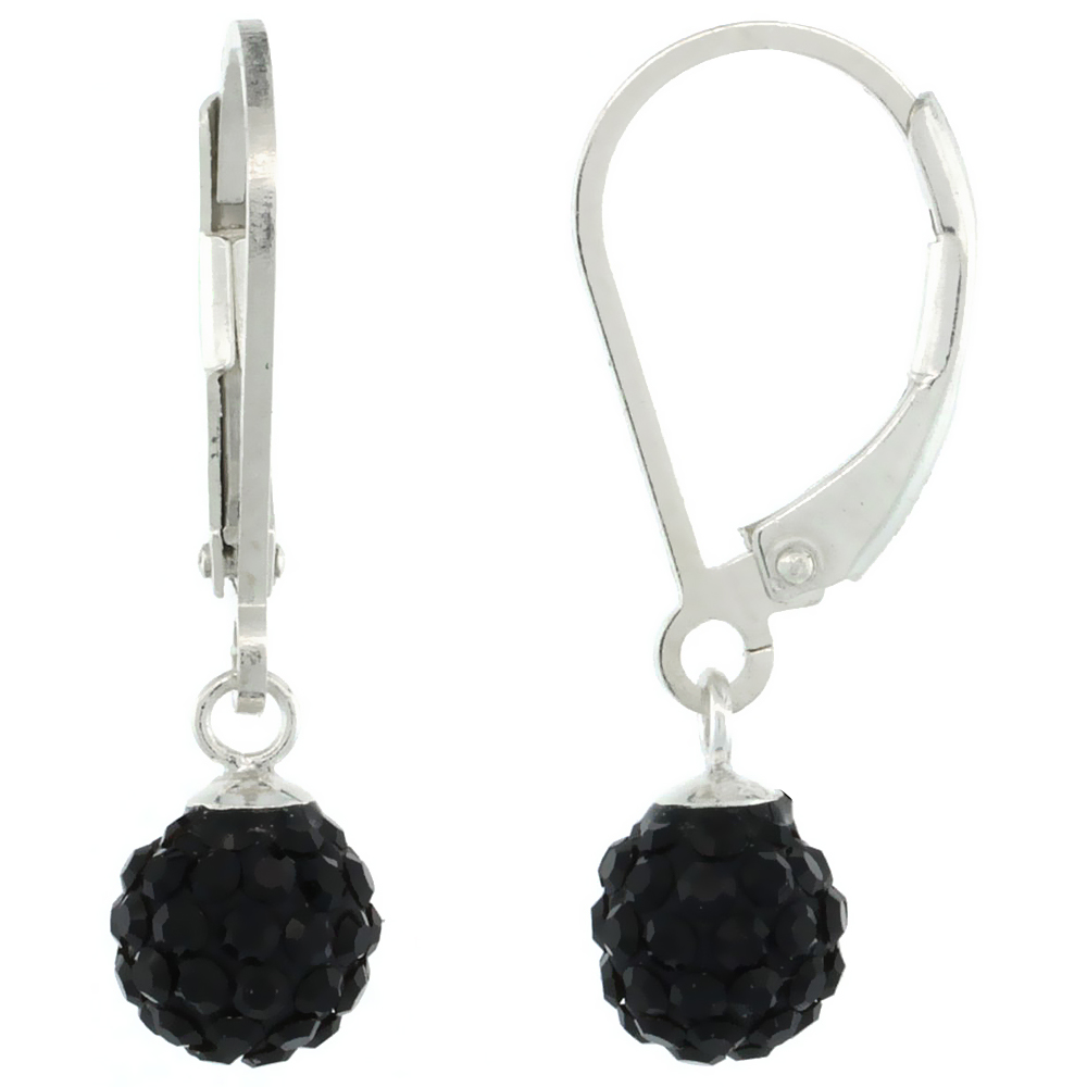 Sterling Silver 6mm Round Black Disco Crystal Ball Lever Back Earrings, 1 in. (25 mm) tall