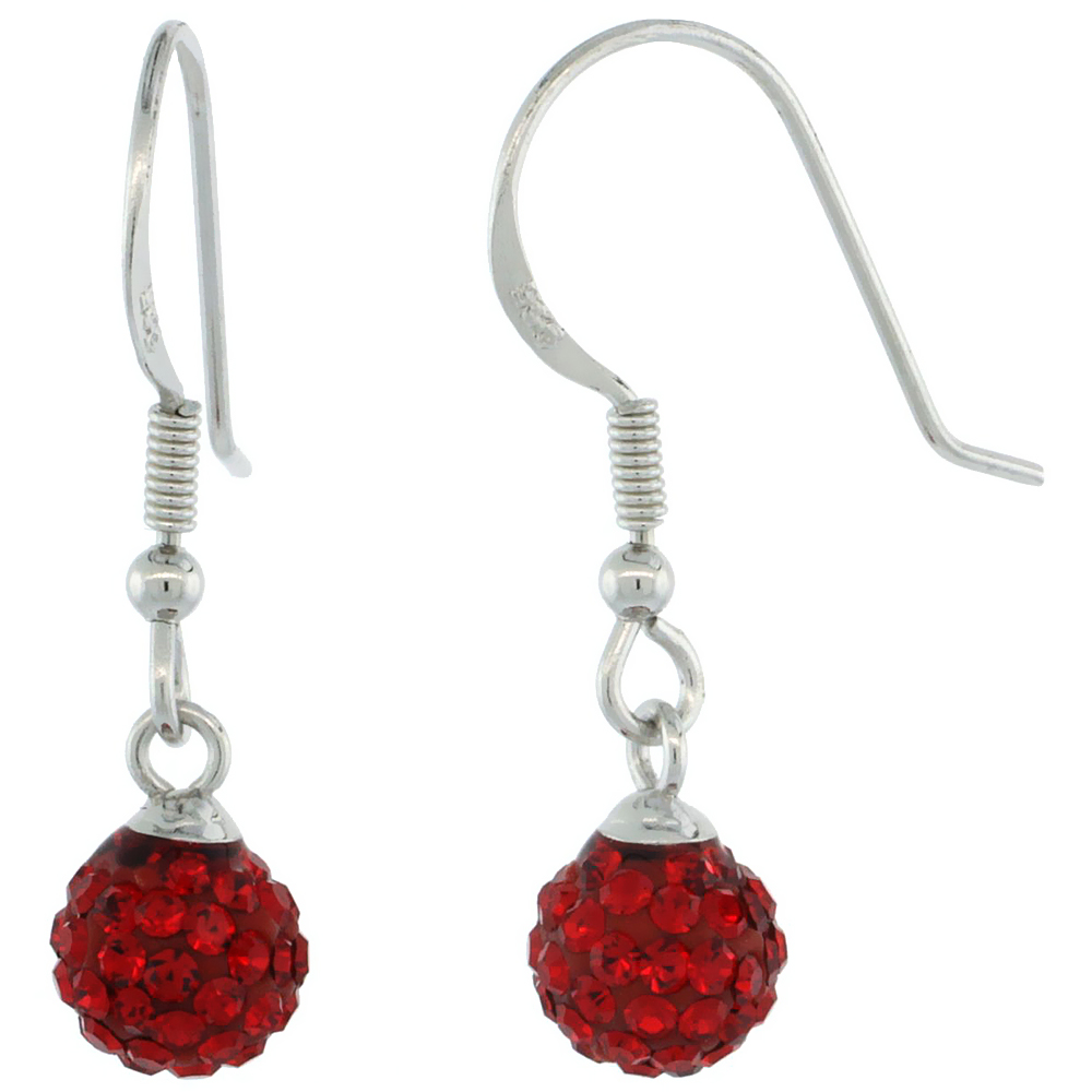 Sterling Silver 6mm Round Red Disco Crystal Ball Fish Hook Earrings, 1 1/16 in. (27 mm) tall