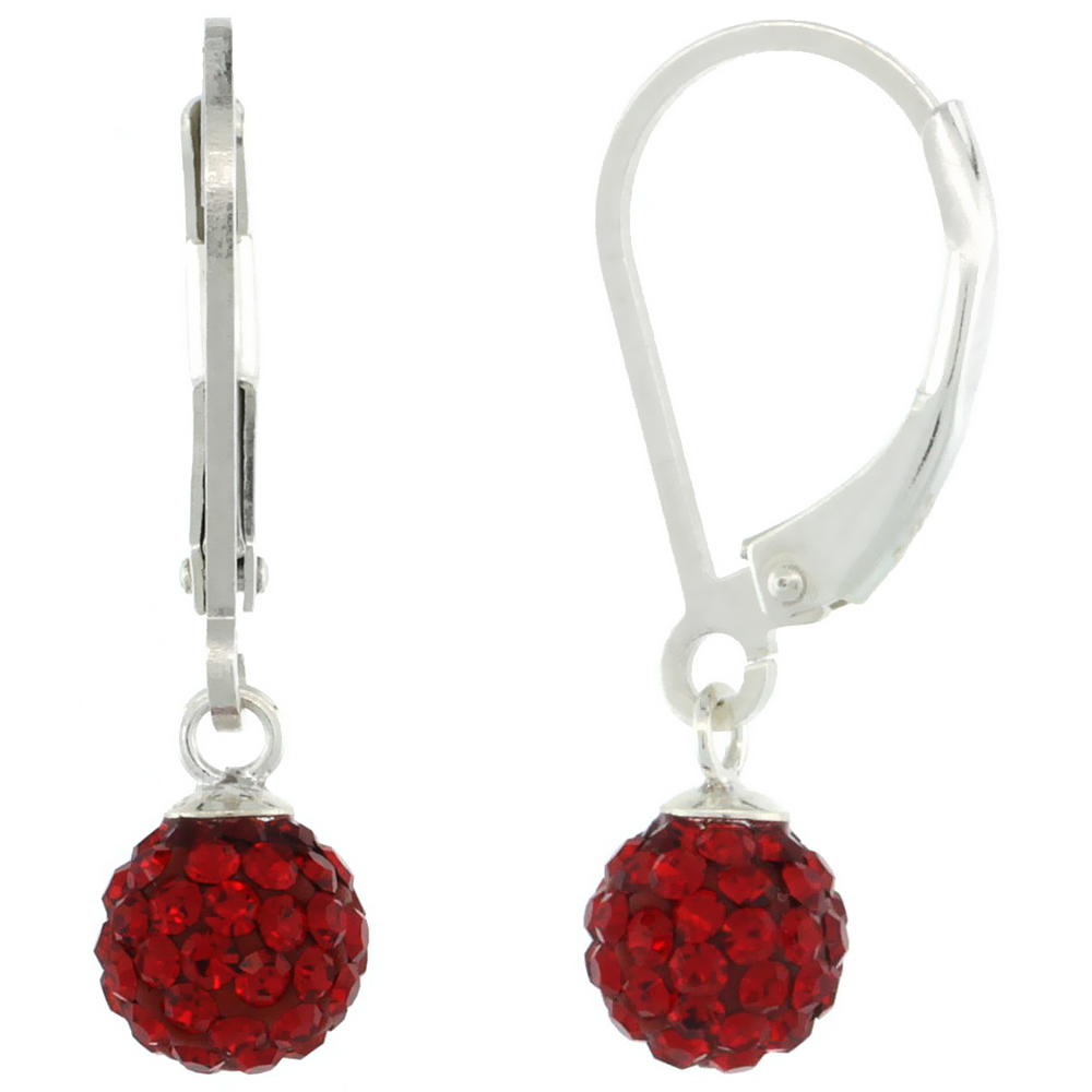 Sterling Silver 6mm Round Red Disco Crystal Ball Lever Back Earrings for Women for Women July Birthstone, 7/8 in. (24 mm) tall