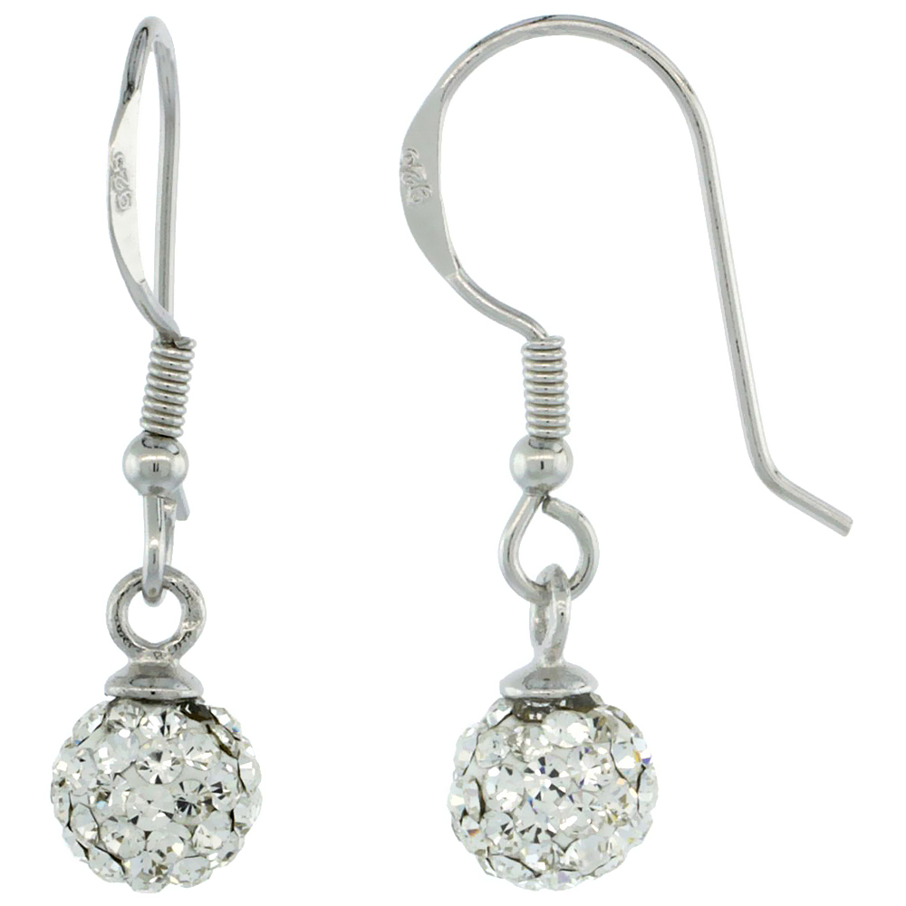 Sterling Silver 6mm Round White Disco Crystal Ball Fish Hook Earrings, 1 1/16 in. (27 mm) tall