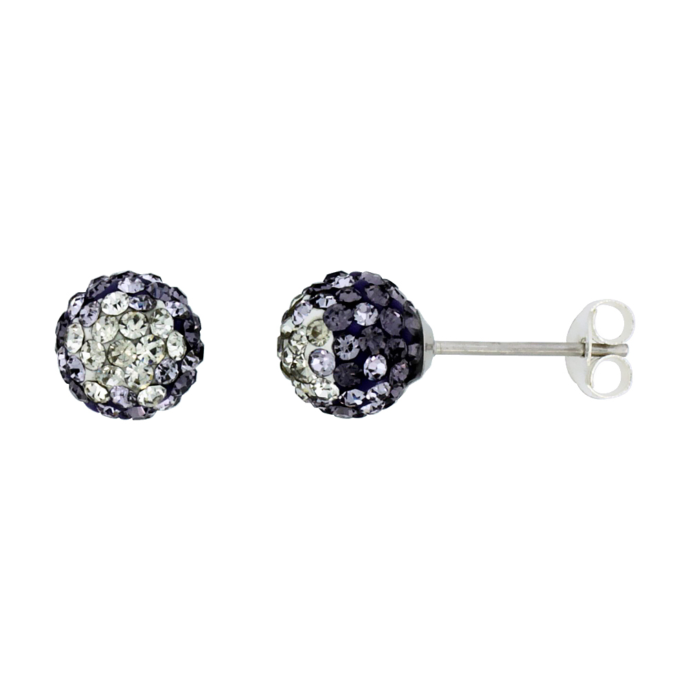 Sterling Silver Crystal Disco Ball Stud Earrings (8mm Round), Clear & Purple Color