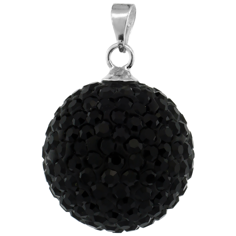 Large 16mm Sterling Silver Black Crystal Disco Ball Pendant Necklace for Women