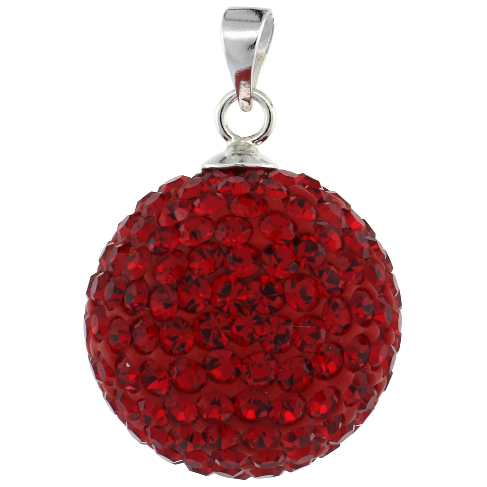 Large 16mm Sterling Silver July Birthstone RubyRed Crystal Disco Ball Pendant Necklace for Women