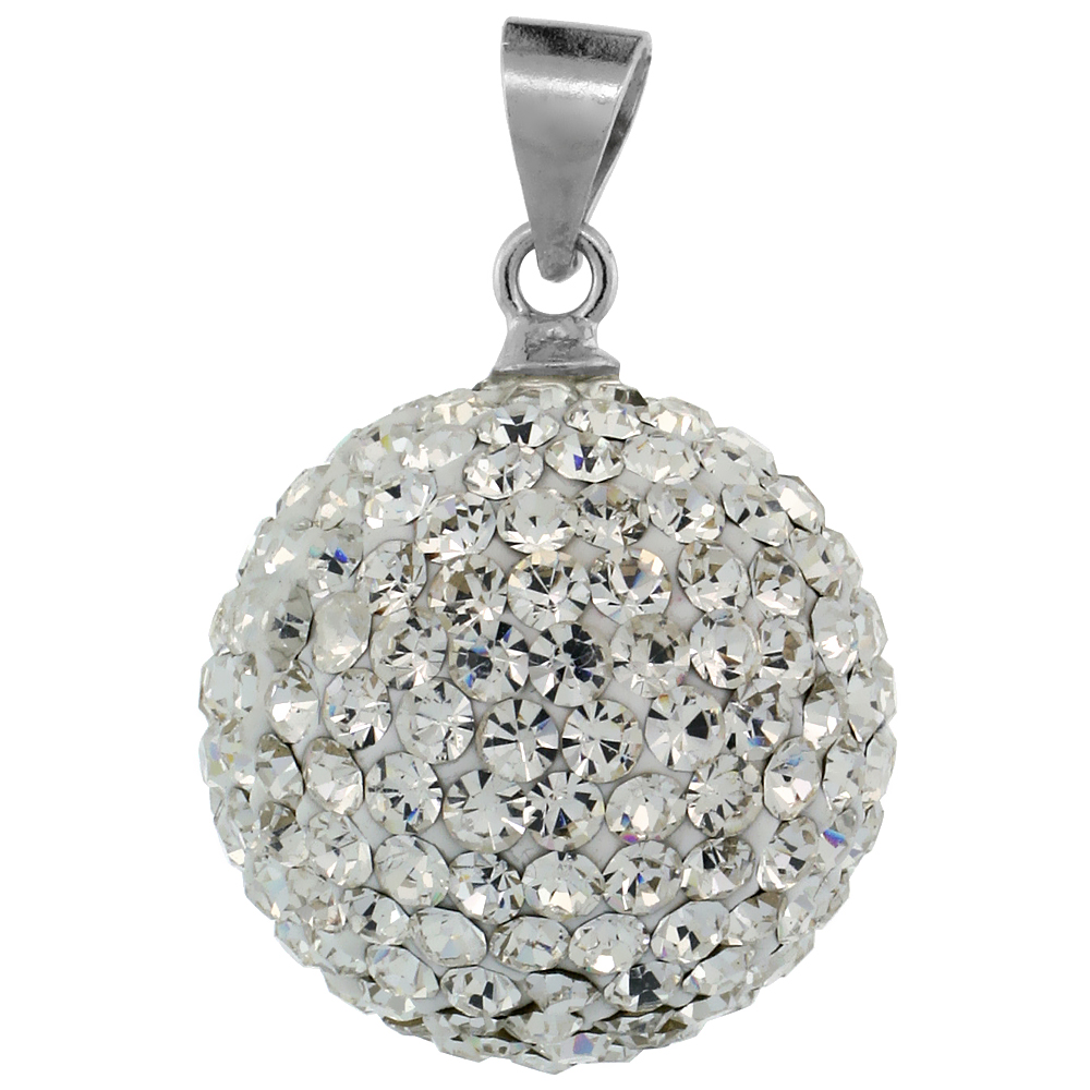 Large 16mm Sterling Silver April Birthstone White Crystal Disco Ball Pendant Necklace for Women