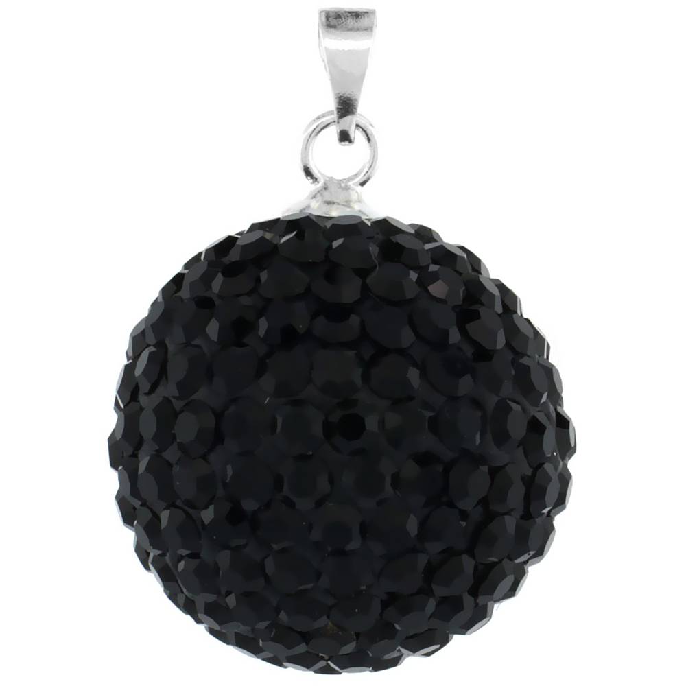 Large 18mm Sterling Silver Black Crystal Disco Ball Pendant Necklace for Women