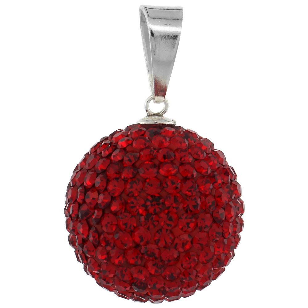 Large 18mm Sterling Silver July Birthstone RubyRed Crystal Disco Ball Pendant Necklace for Women