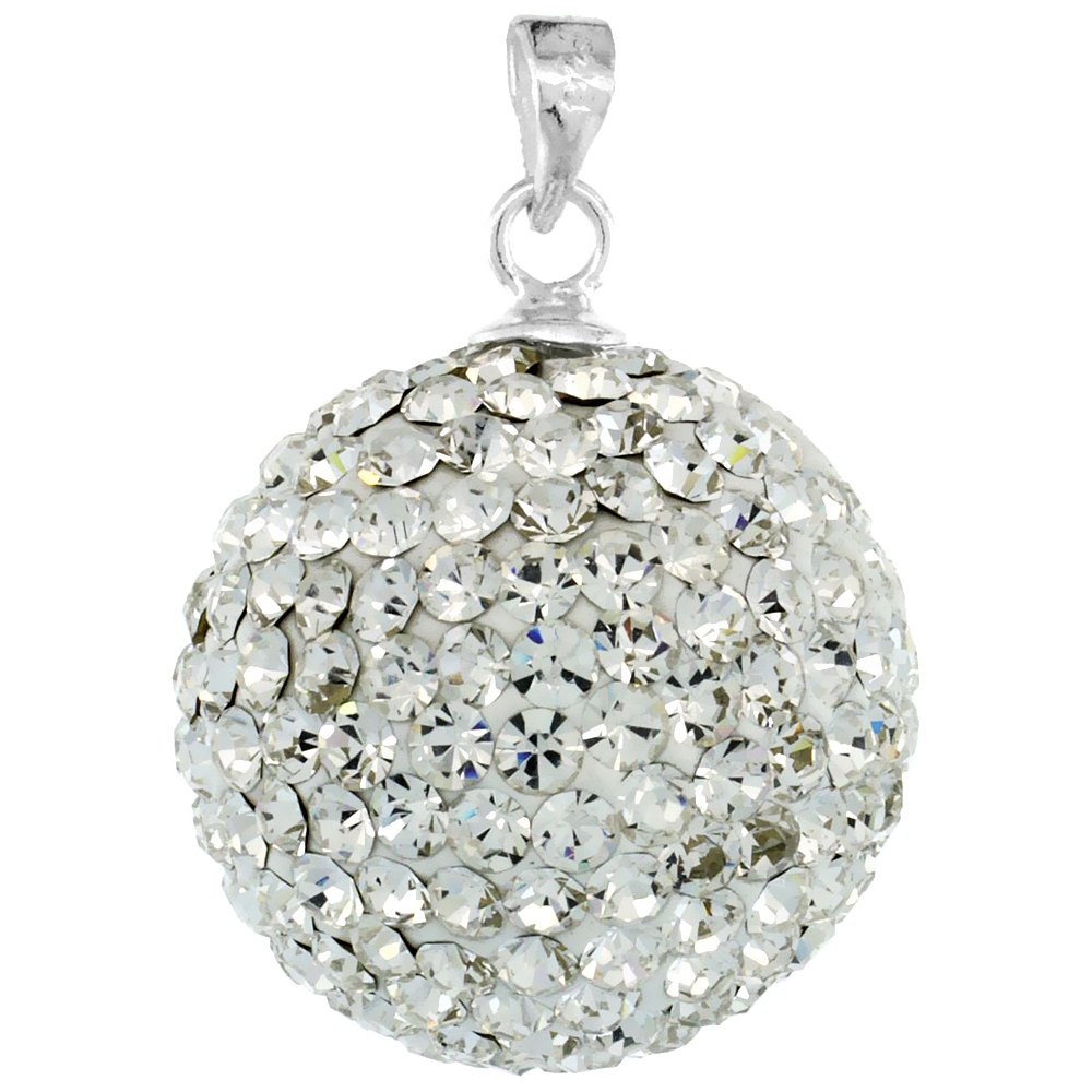 Large 18mm Sterling Silver April Birthstone White Crystal Disco Ball Pendant Necklace for Women