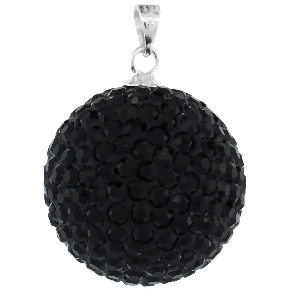 Large 20mm Sterling Silver Black Crystal Disco Ball Pendant Necklace for Women