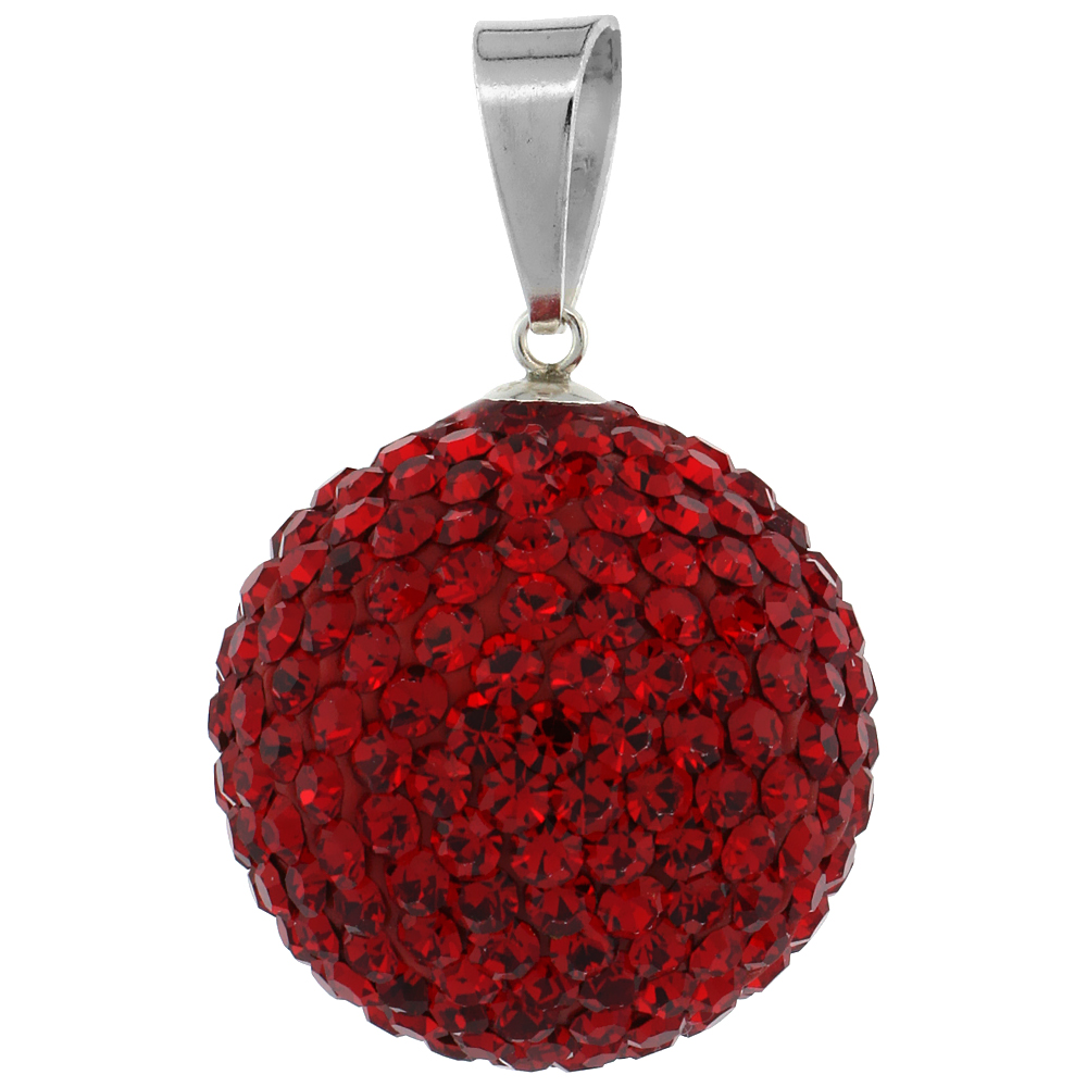 Large 20mm Sterling Silver July Birthstone RubyRed Crystal Disco Ball Pendant Necklace for Women