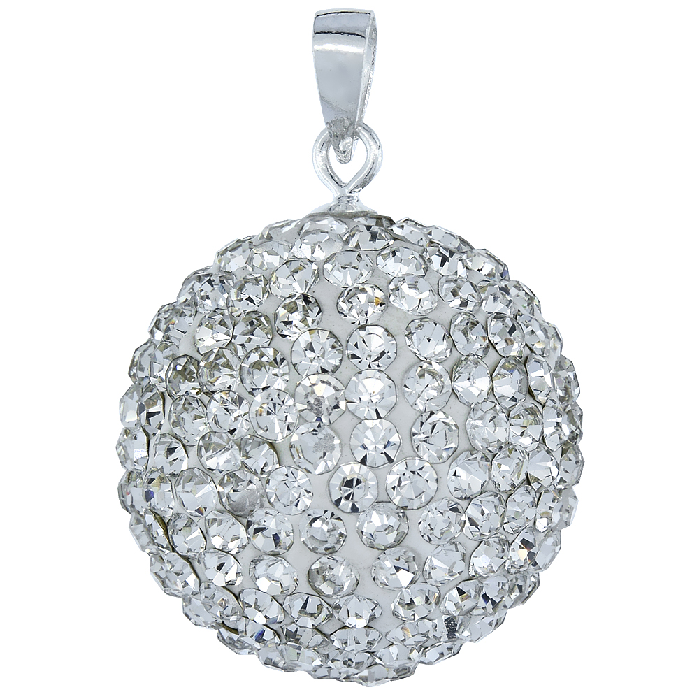 Large 20mm Sterling Silver April Birthstone White Crystal Disco Ball Pendant Necklace for Women
