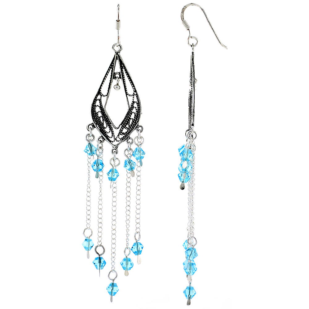 "Sterling Silver Pear-shaped Dangle Chandelier Earrings w/ Aquamarine-colored Blue Crystals, 3 1/8"" (79 mm) tall"