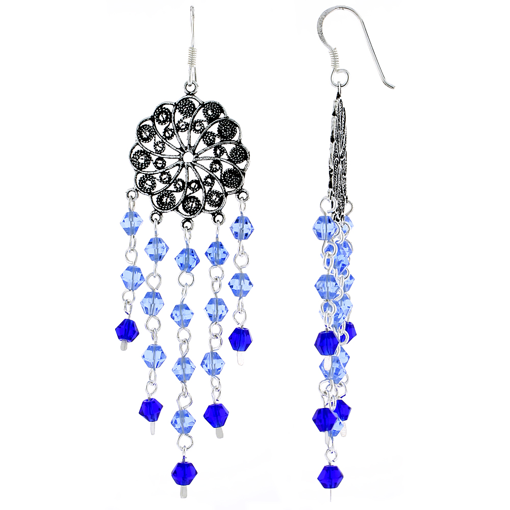 "Sterling Silver Flower Dangle Chandelier Earrings w/ Blue Topaz & Blue Sapphire-colored Crystals, 2 13/16"" (72 mm) tall"