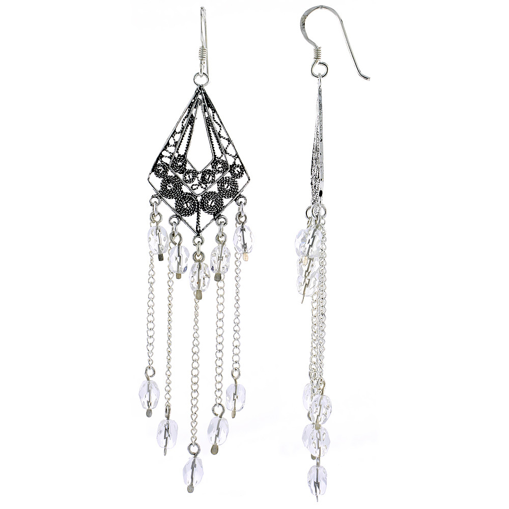 "Sterling Silver Diamond-shaped Dangle Chandelier Earrings w/ Clear Crystals, 3 1/4"" (83 mm) tall"