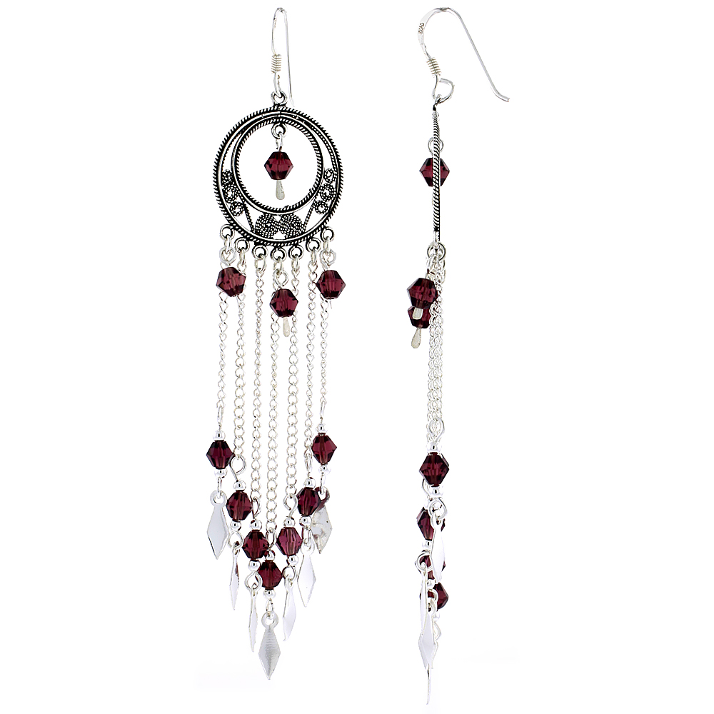 "Sterling Silver Dangle Chandelier Earrings w/ Garnet-colored Crystals, 3 5/16"" (85 mm) tall"