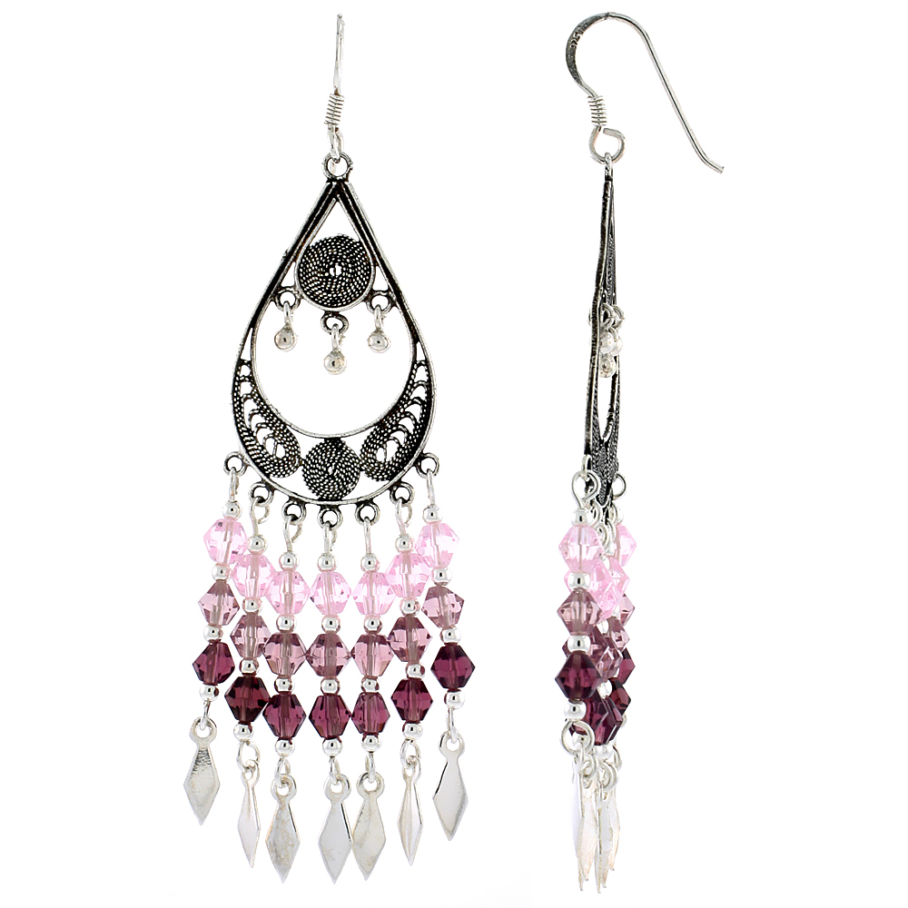"Sterling Silver Pear-shaped Dangle Chandelier Earrings w/ Pink Tourmaline, Rose Pink & Garnet-colored Crystals, 2 9/16"" (65 mm) tall"