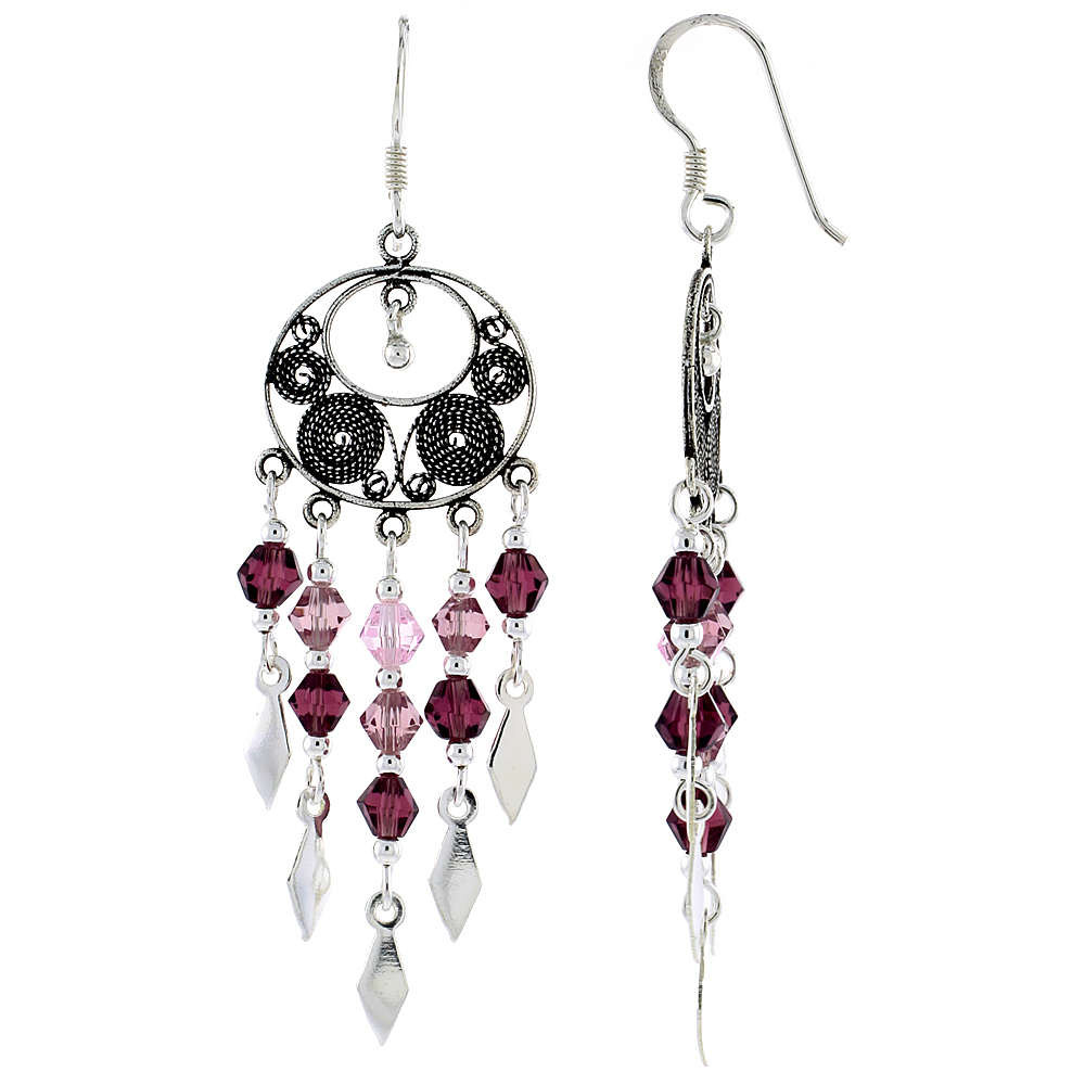 "Sterling Silver Dangle Chandelier Earrings w/ Pink Tourmaline, Rose Pink & Garnet-colored Crystals, 2"" (51 mm) tall"