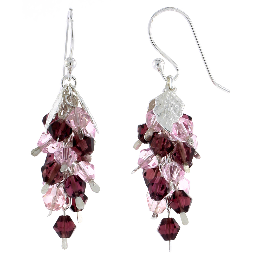 "Sterling Silver Fish Hook Dangle Cluster Earrings w/ Pink Tourmaline & Garnet-colored Crystals, 1 3/16"" (30 mm) tall"