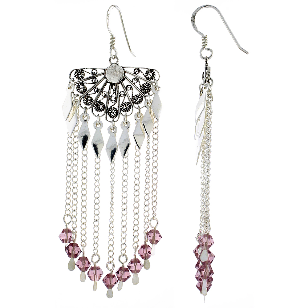 "Sterling Silver Fan-shaped Dangle Chandelier Earrings w/ Rose Pink Crystals, 2 7/16"" (62 mm) tall"