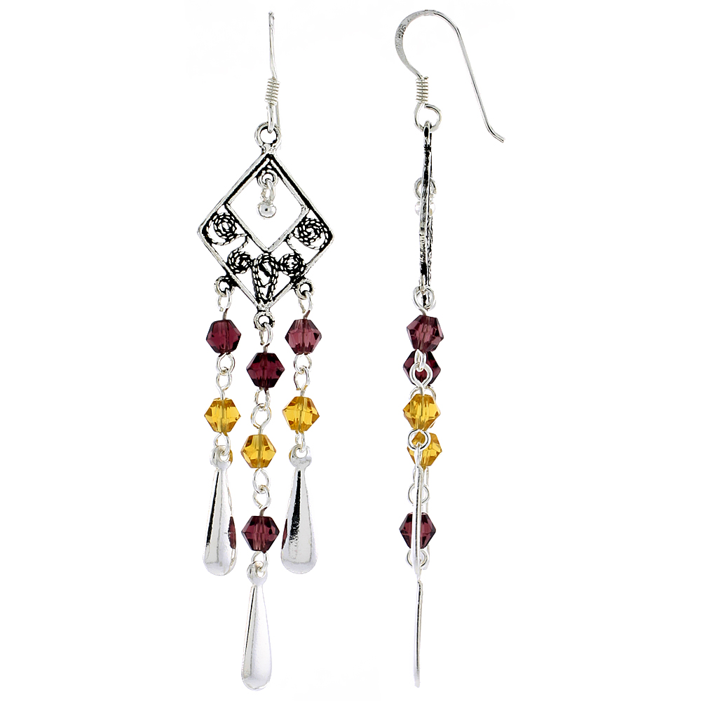 "Sterling Silver Diamond-shaped Dangle Chandelier Earrings w/ Garnet-colored & Yellow Citrine-colored Crystals, 2 3/8"" (60 mm) ta"