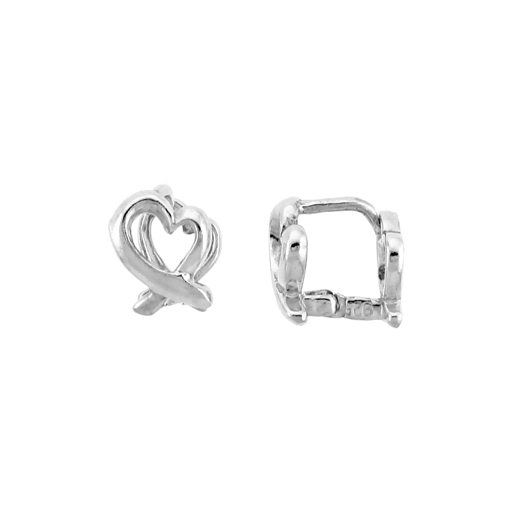 "Sterling Silver Love Knot Huggie Earrings, 5/16"" (9 mm)"