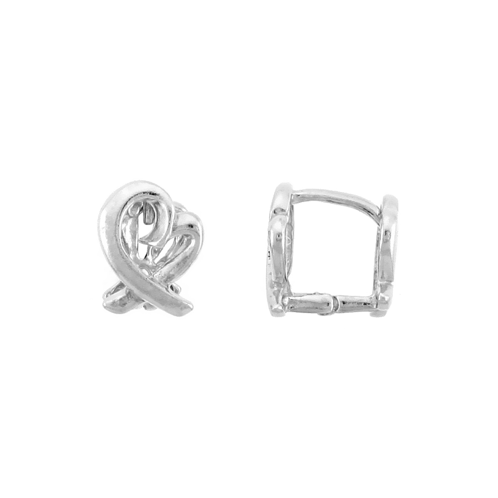 "Sterling Silver Love Knot Huggie Earrings, 5/16"" (8 mm)"