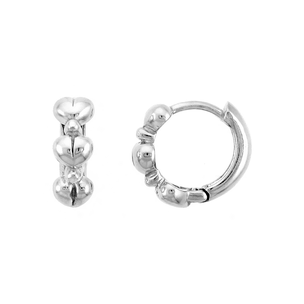 "Sterling Silver Huggie Hoop Earrings w/ Teeny Heart Links, 7/16"" (11 mm)"