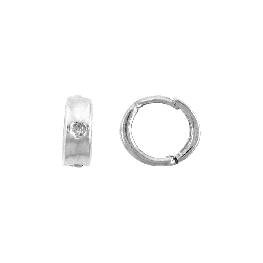 "Sterling Silver Huggie Hoop Earrings w/ Teeny Heart, 3/8"" (9 mm)"