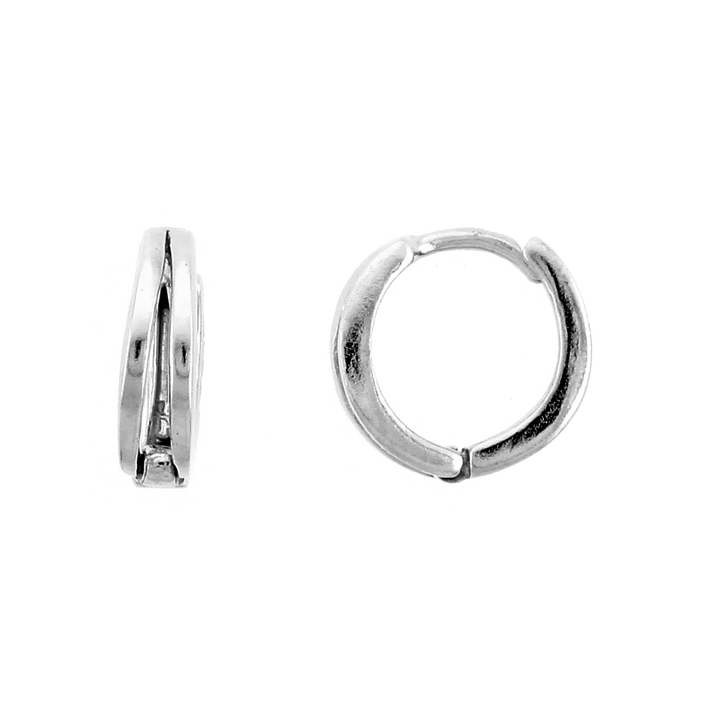 "Sterling Silver Huggie Hoop Earrings, 7/16"" (11 mm)"