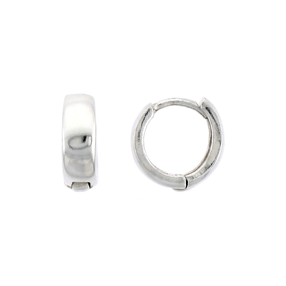 "Sterling Silver Plain Huggie Hoop Earrings, 3/8"" (10 mm)"