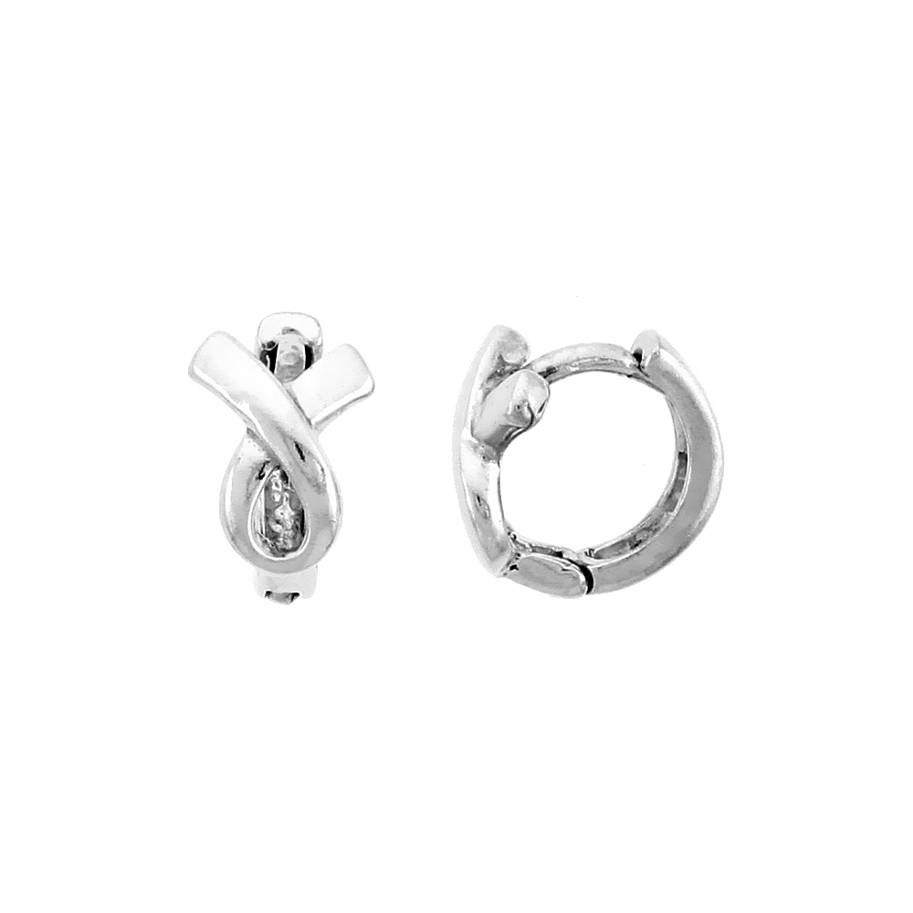 "Sterling Silver Ribbon Lace Knot Huggie Earrings, 3/8"" (9 mm)"