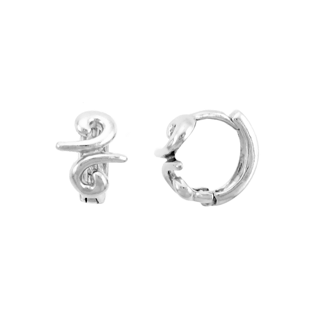"Sterling Silver Swirl Huggie Hoop Earrings, 3/8"" (10 mm)"