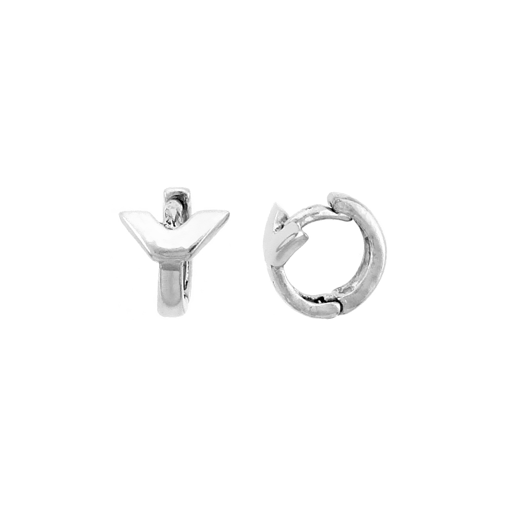 "Sterling Silver Y-shaped Huggie Hoop Earrings, 5/16"" (8 mm)"