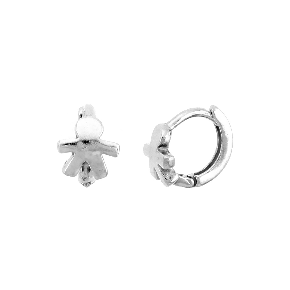"Sterling Silver Human-shaped Huggie Hoop Earrings, 3/8"" (10 mm)"