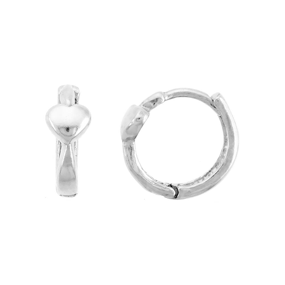 "Sterling Silver Huggie Hoop Earrings w/ Teeny Heart, 1/2"" (12 mm)"