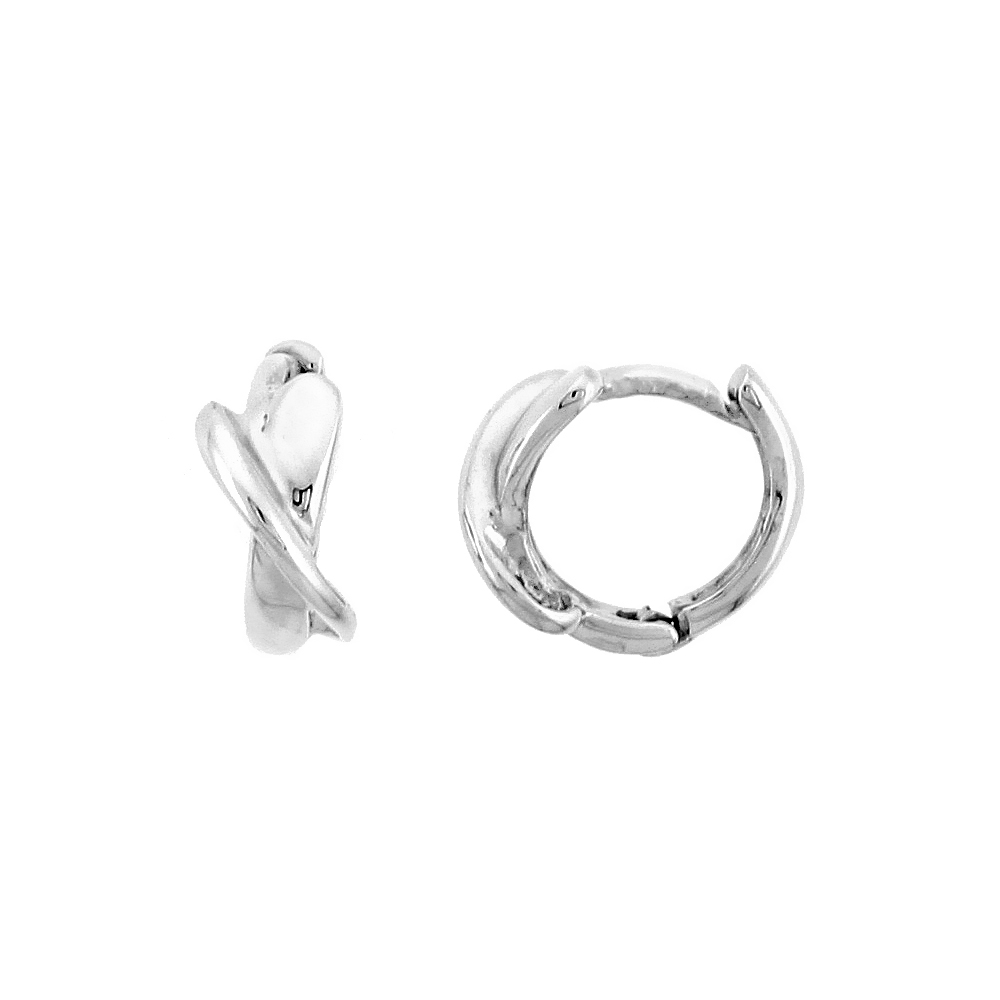 "Sterling Silver Crisscross Huggie Hoop Earrings, 3/8"" (10 mm)"