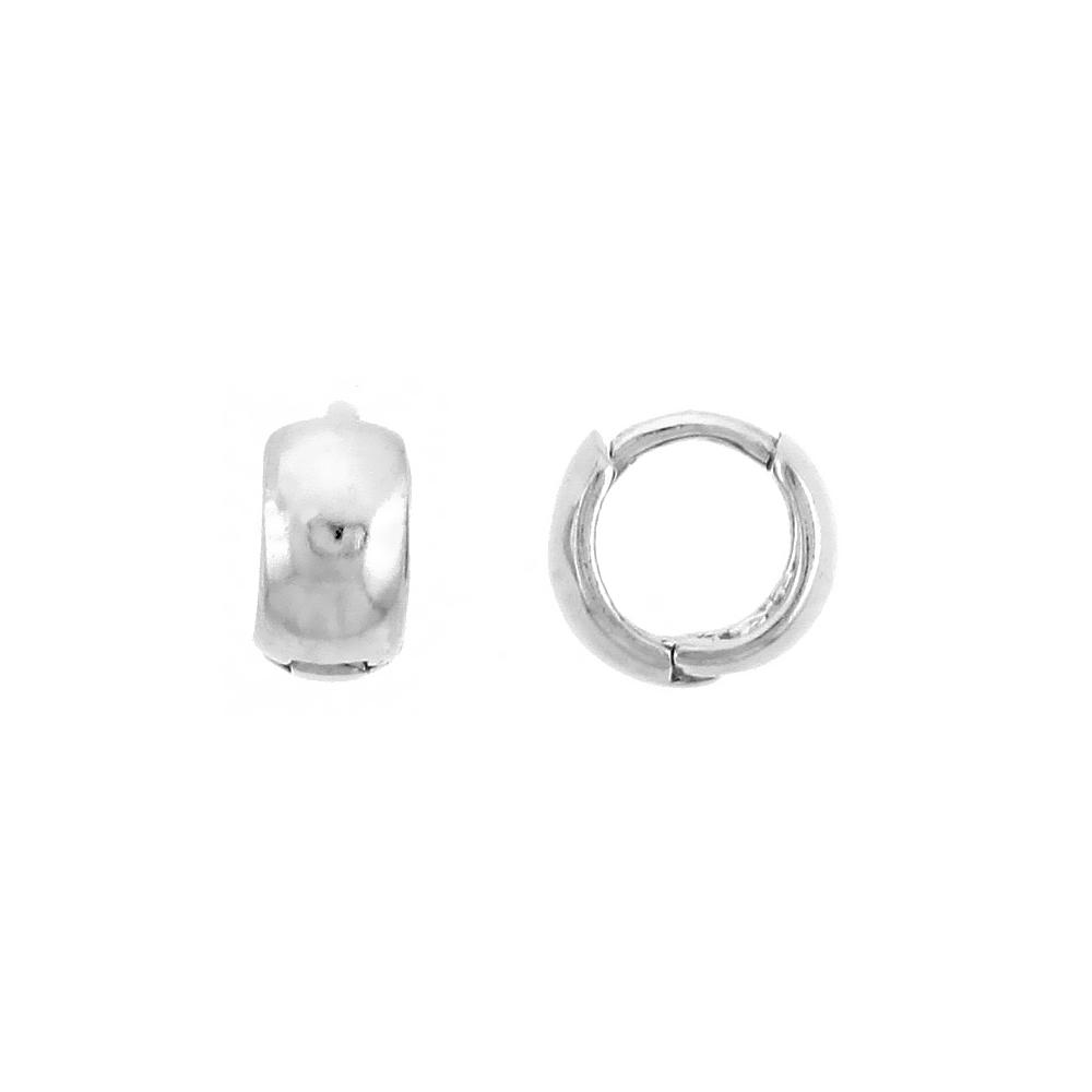 """Sterling Silver Plain Huggie Hoop Earrings, 5/16"""" (8 mm)"""