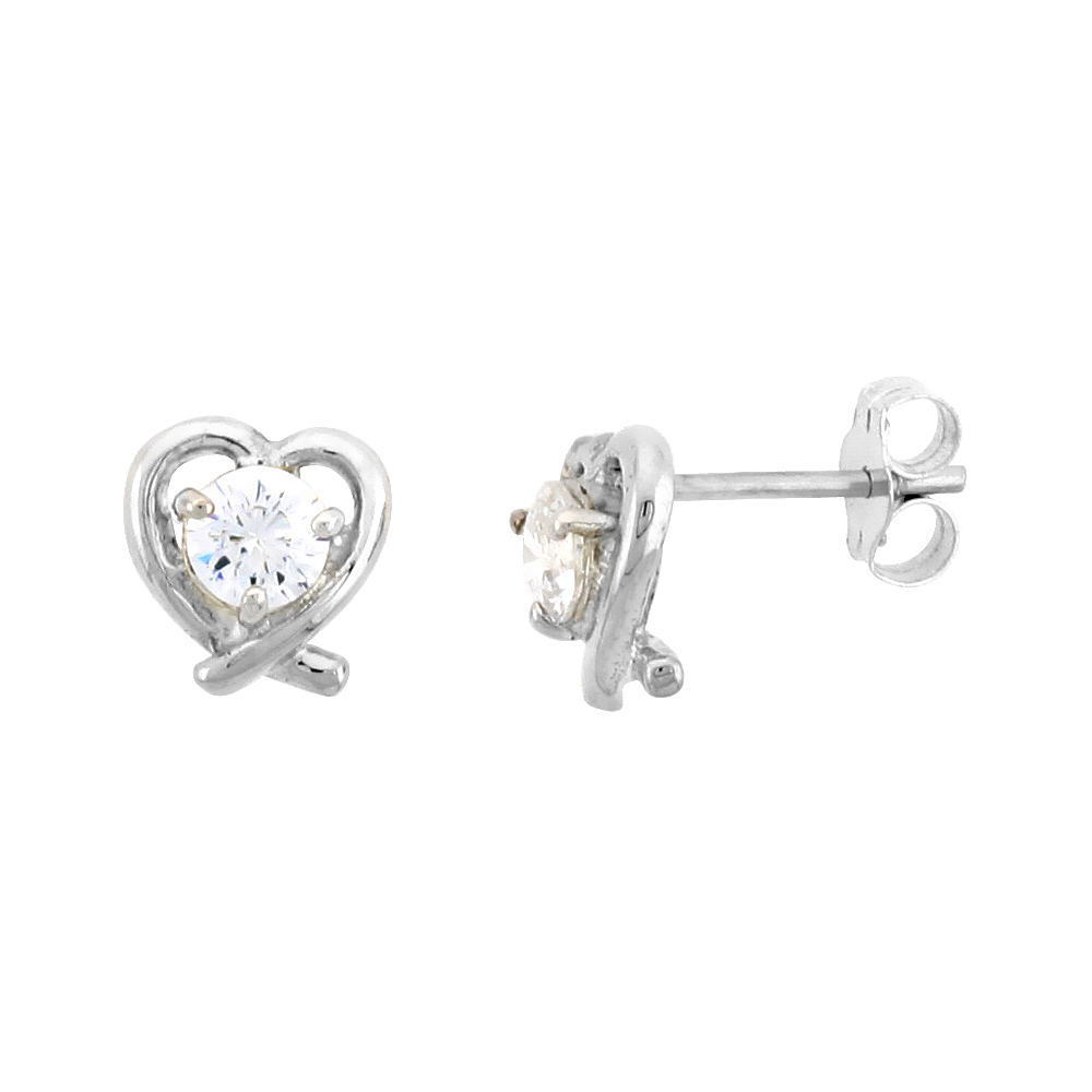 "Sterling Silver Heart Cut Out Stud Earrings, w/ Brilliant Cut CZ Stone, 5/16"" (8 mm)"