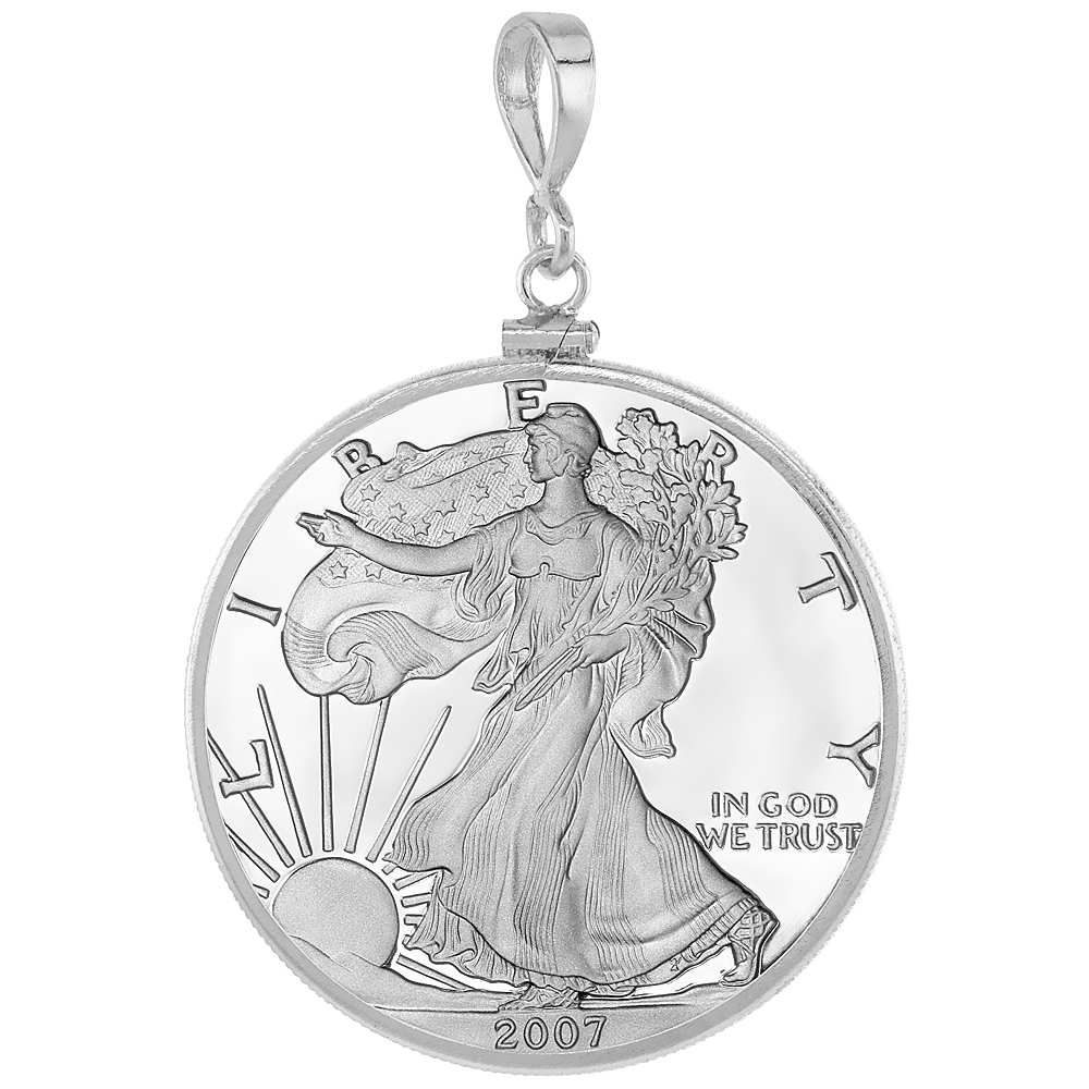 Sterling Silver SILVER EAGLE Bezel 40.7 mm Screw Top Coin Edge One oz Coin NOT Included