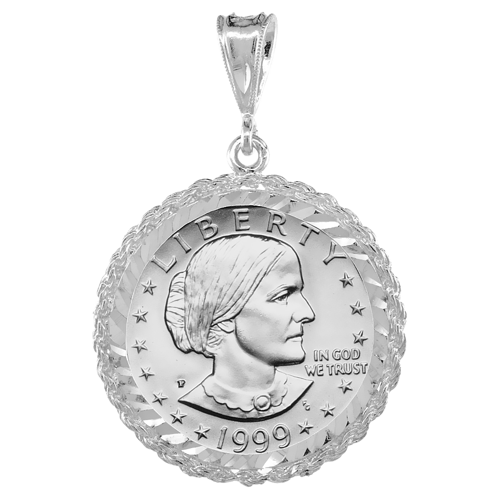 Sterling Silver Susan B. Anthony Rope Bezel Sacagawea 26 mm Coins Prong Back Diamond Cut
