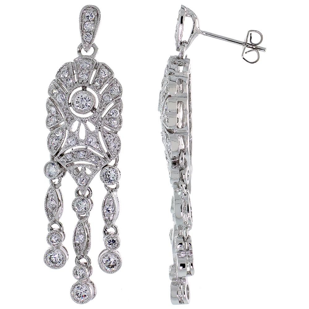 Sterling Silver CZ Chandelier Drop Earrings 1 15/16 in. (50 mm) tall