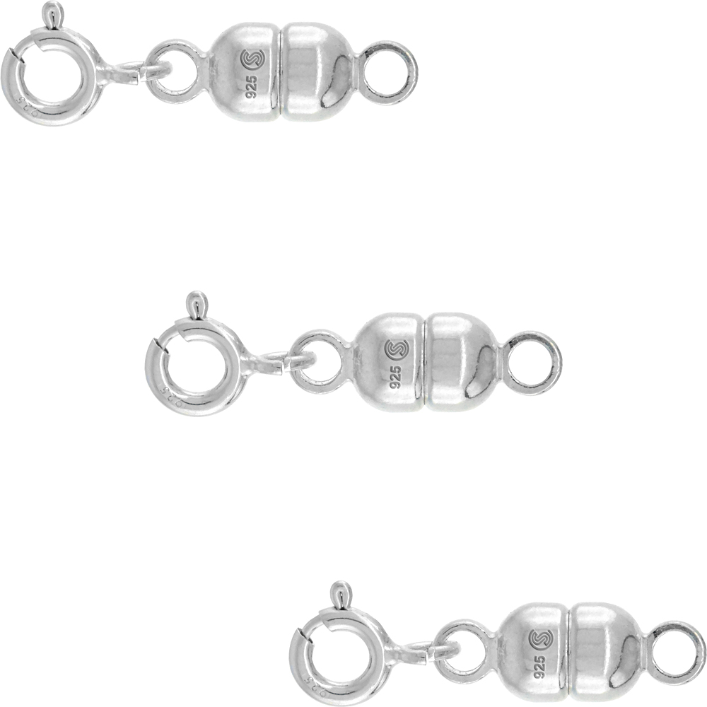 3 PACK Sterling Silver 5 mm Magnetic Clasp Converter for Necklaces Italy, medium size