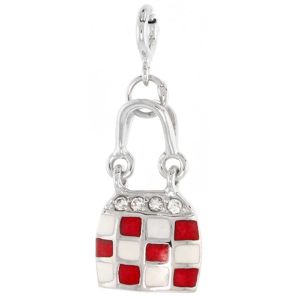 Sterling Silver Enamel Red & White Checkered Purse Charm with clasp for Bracelets Women CZ Accent 3/4 inch